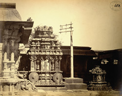 Stone temple car or ratha and dvajastambha in the Venkataramana Temple, Tadpatri